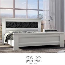 מיטה זוגית בעיצוב יוקרתי עם עיטור זכוכית בראש המיטה דגם VERONA