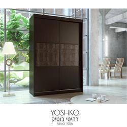 ארון הזזה 2 דלתות בעיצוב יוקרתי עם  ריפוד דמוי עור קרוקודיל דגם platinum