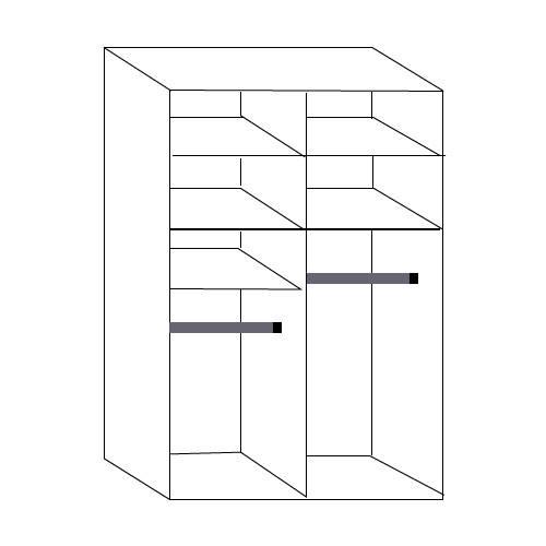 ארון הזזה  2 דלתות  עם  מראה קריסטלית  דגם הילית